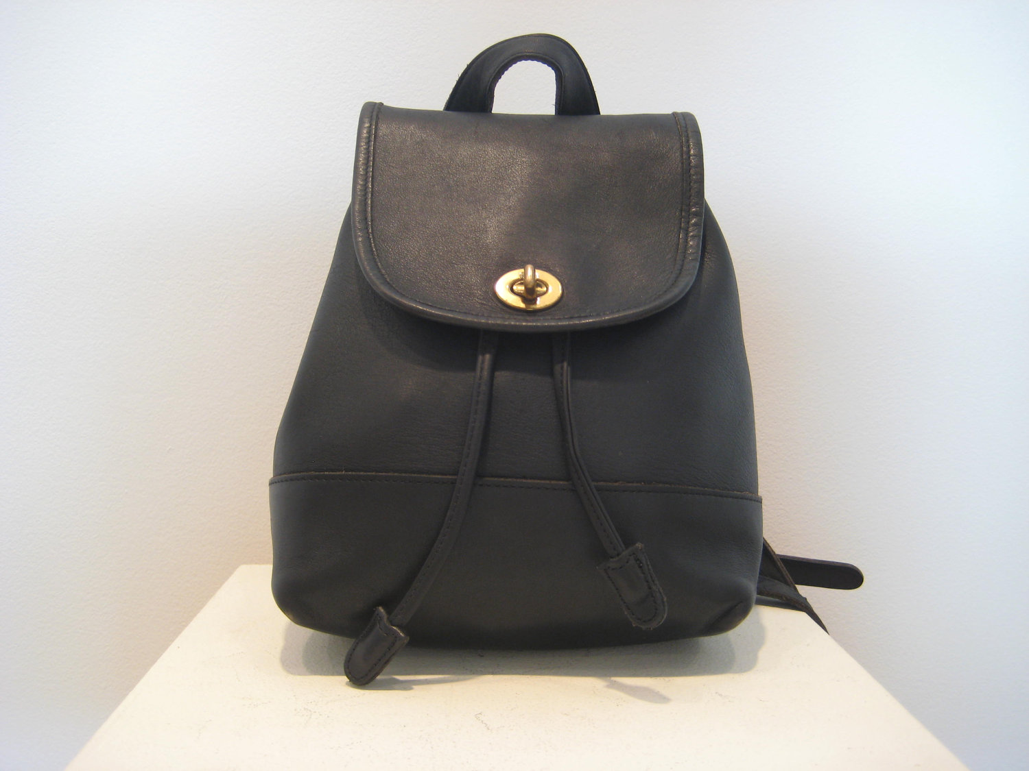 Black Leather Backpack Purse zQi439JI