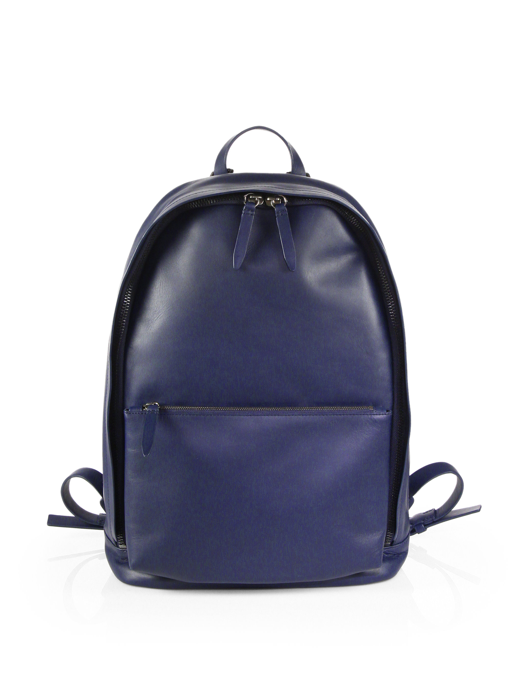Blue Leather Backpack JHhjqzR9