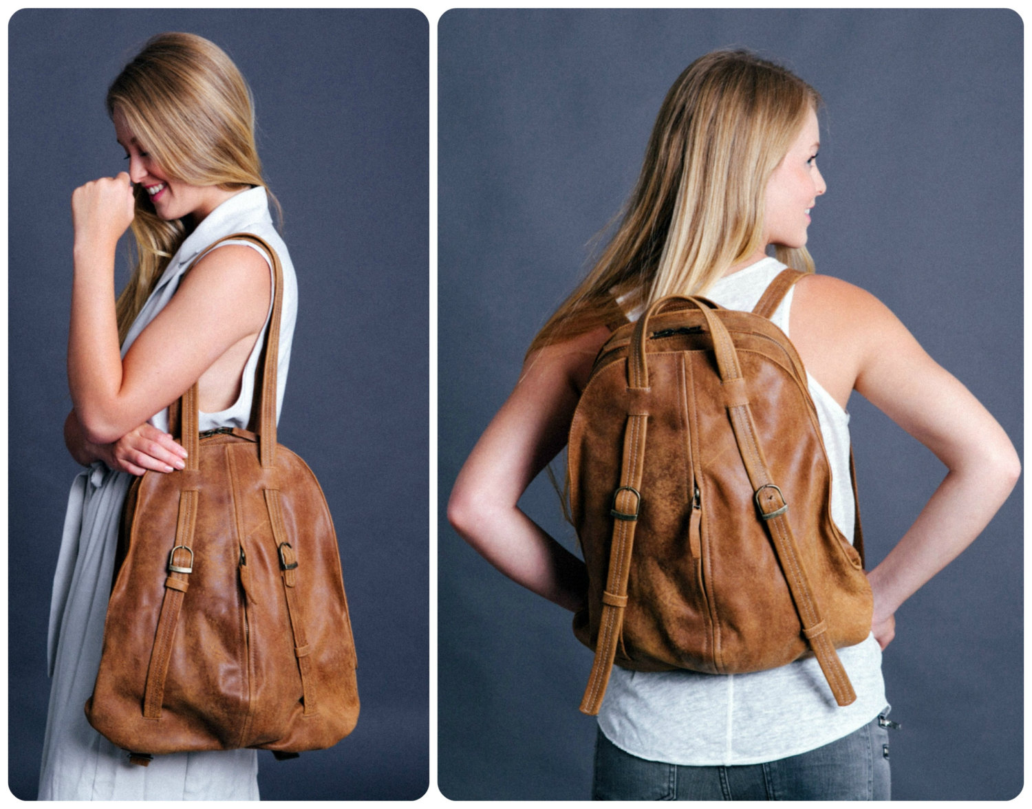 Brown Leather Backpack Purse 1nKjYw9P
