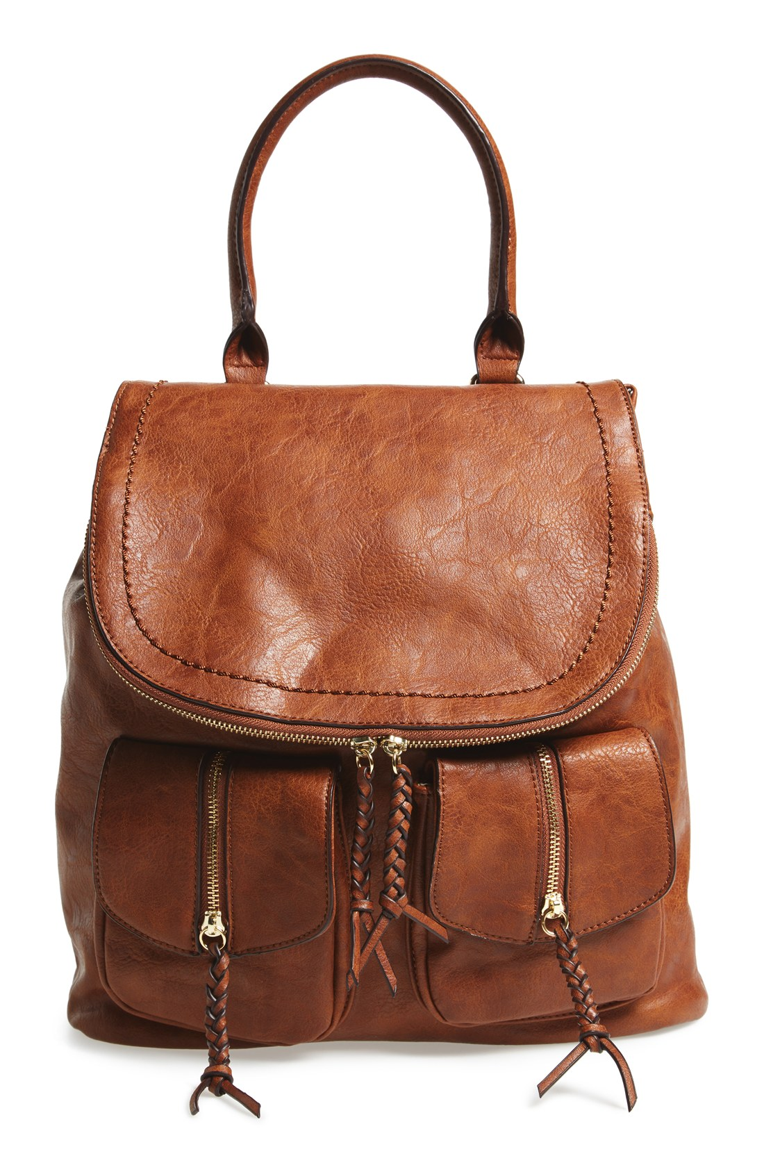Brown Leather Backpack Purse aik9j0Kd