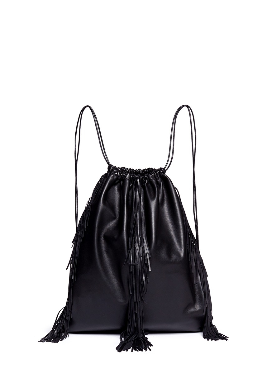 Drawstring Leather Backpack zWsSoO3t