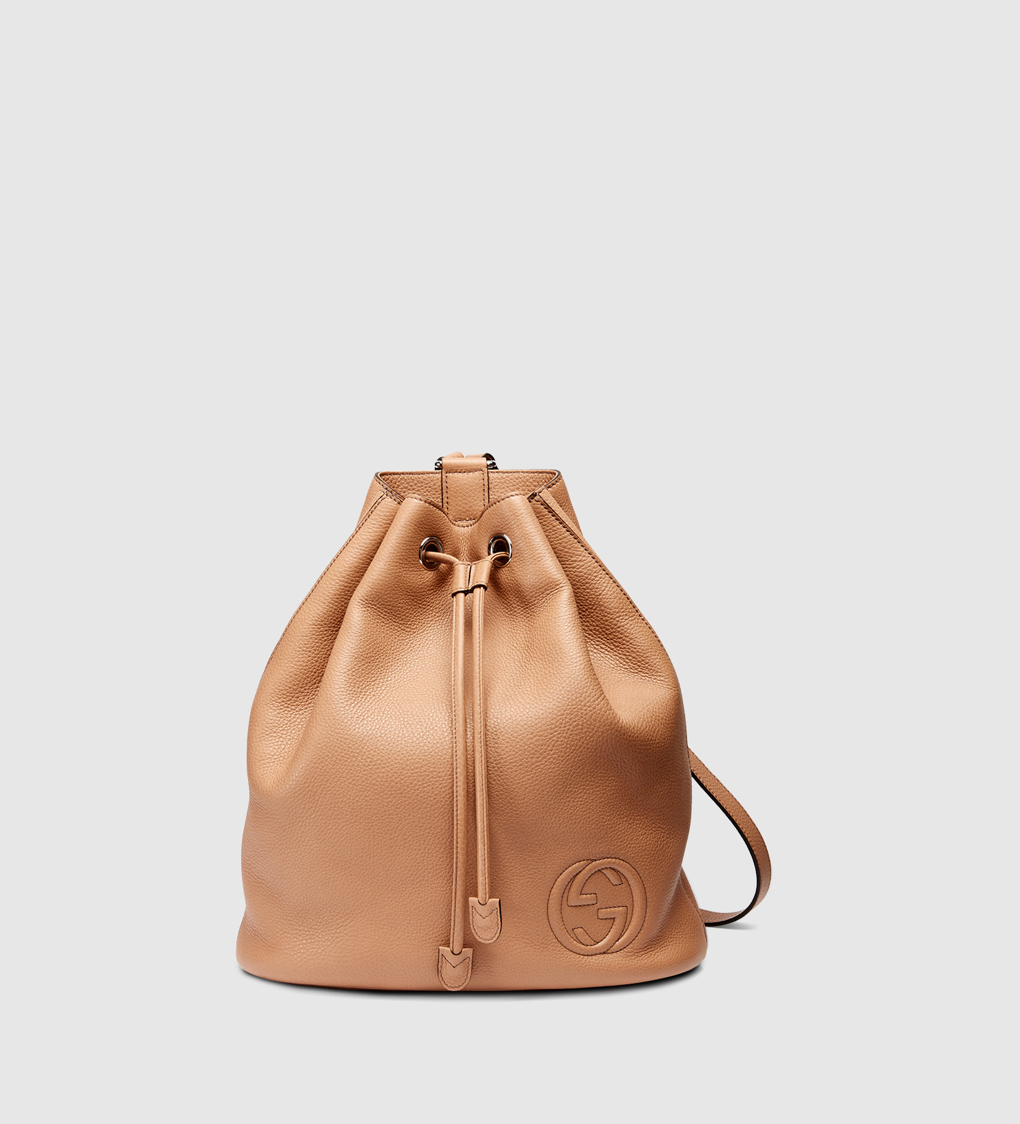 Drawstring Leather Backpack jutZSCM6