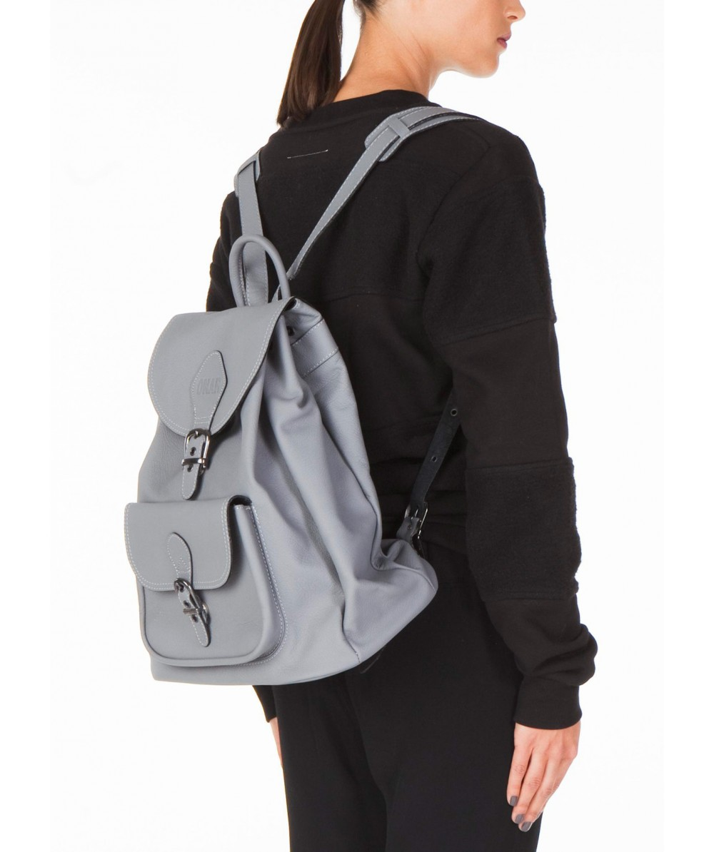 Gray Leather Backpack zylPAkGg