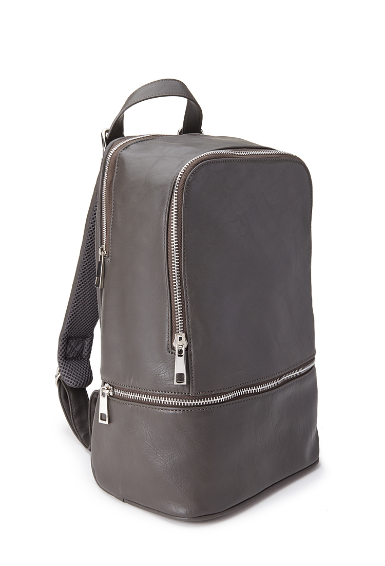 Gray Leather Backpack iZjxVecM
