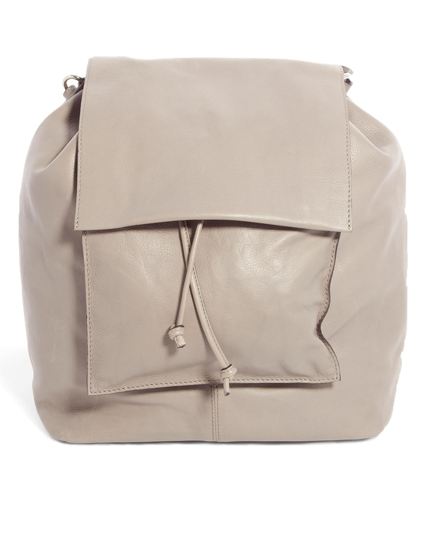 Gray Leather Backpack JAprfAkx