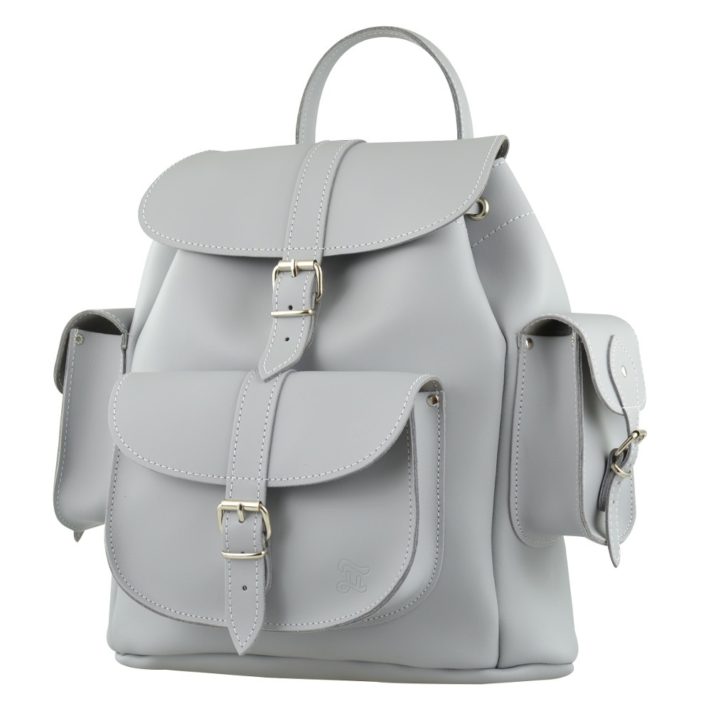 Gray Leather Backpack 9TLOmVzg