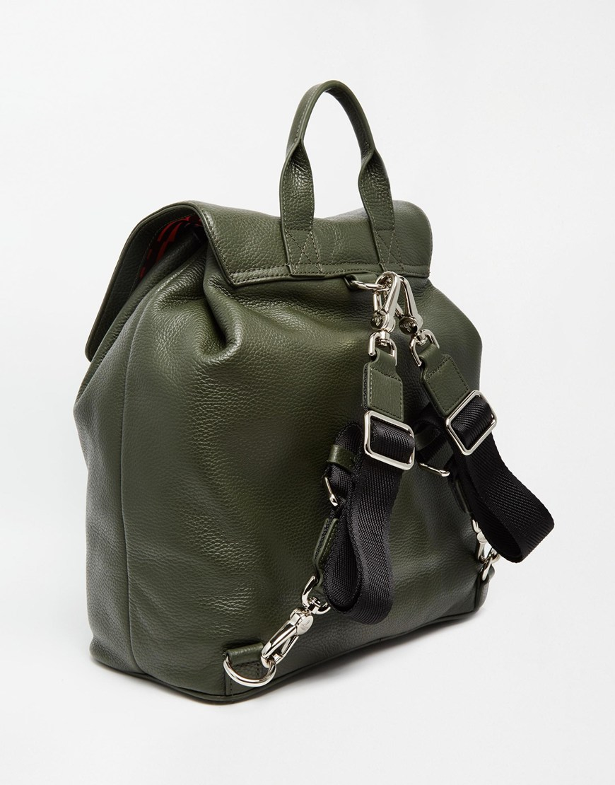 Green Leather Backpack qPLAyX8J