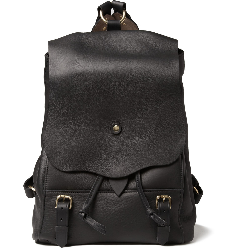 Mens Black Leather Backpack 2FuVejUl