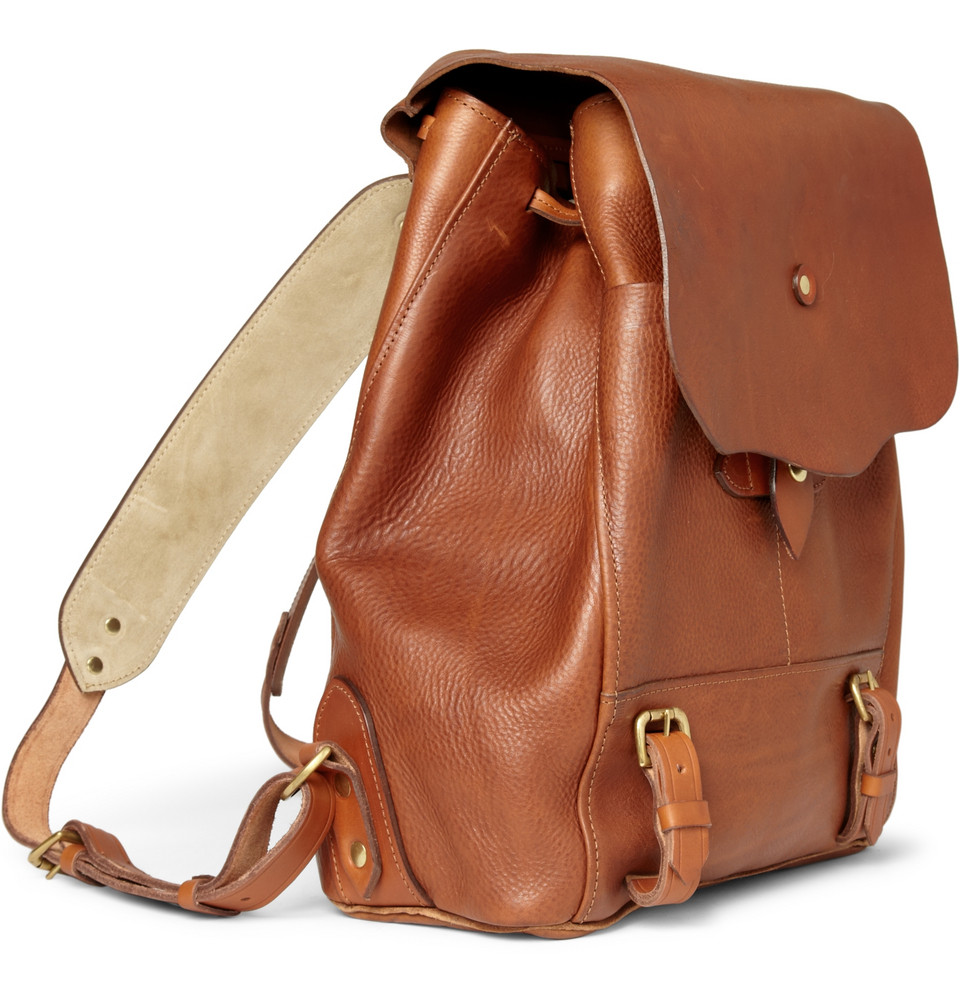 Mens Brown Leather Backpack XgolZ9L2