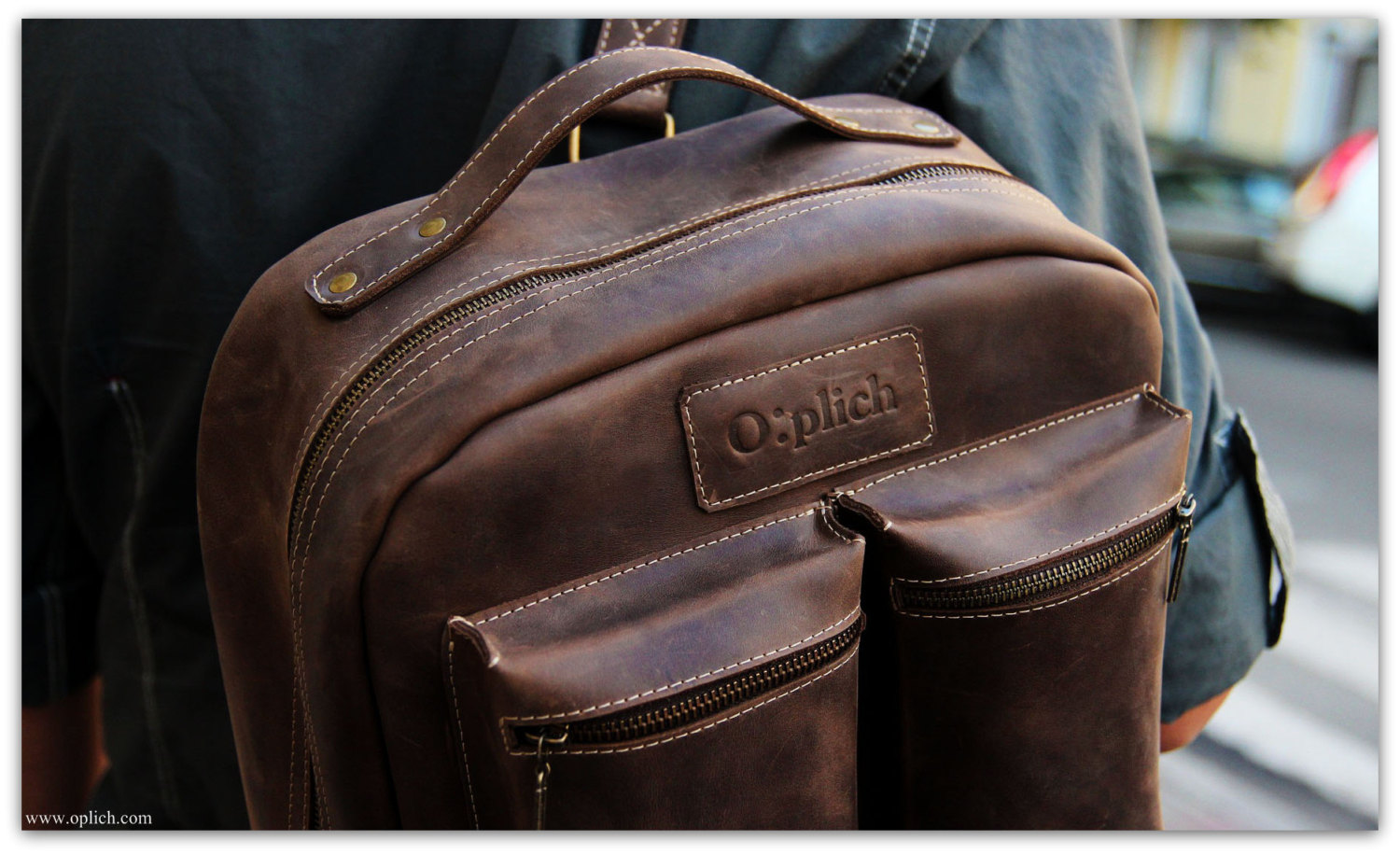 Mens Brown Leather Backpack IWc610Cj
