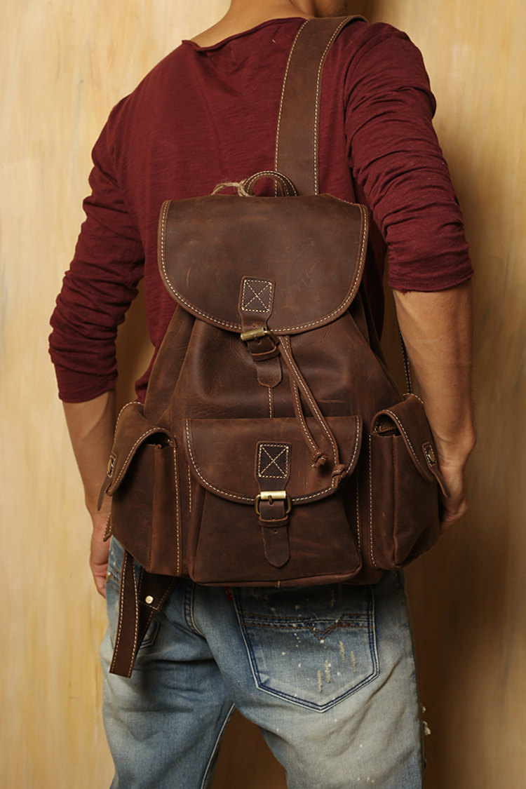 Mens Brown Leather Backpack uGBzS9mM