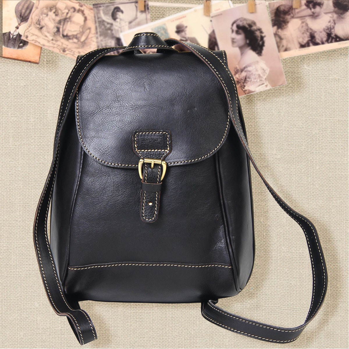 Small Black Leather Backpack FBMTPBHZ