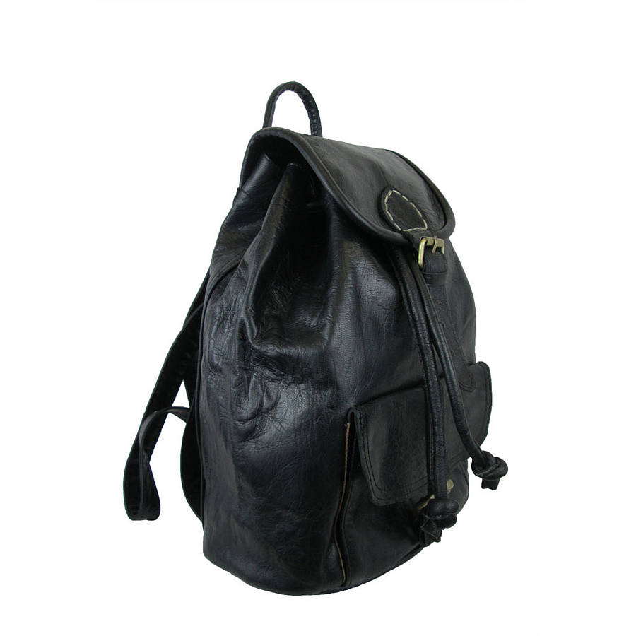 Small Black Leather Backpack BaeOBsPM