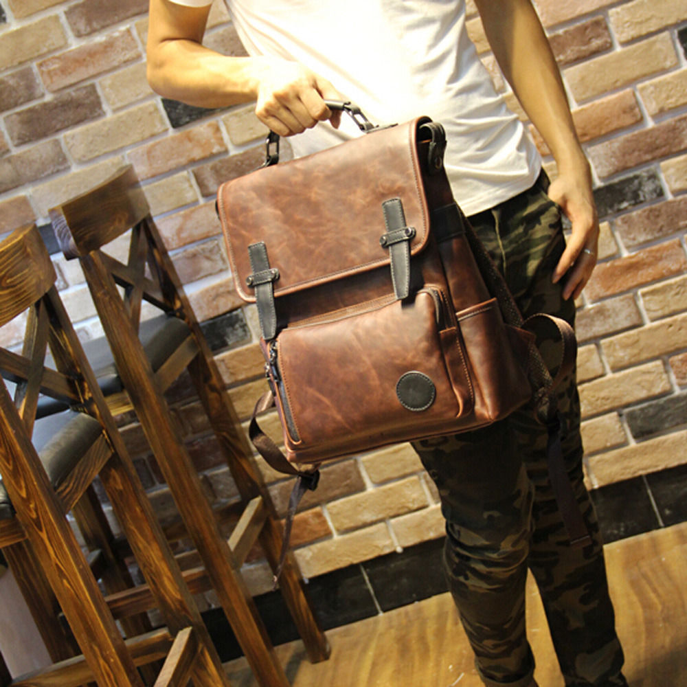 Mens Leather Backpack Briefcase 7WmqG02I
